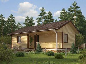 Одноэтажный дом с баней под одной крышей