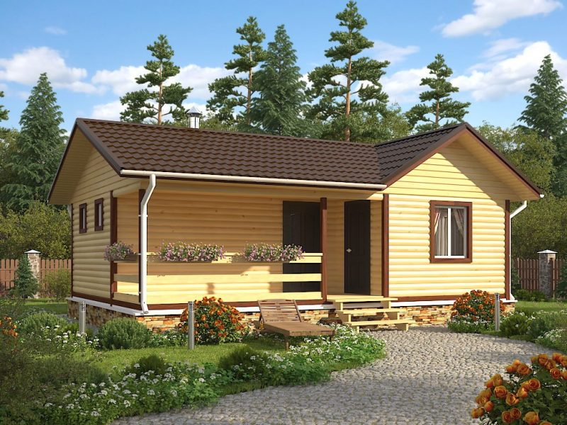 Одноэтажная баня 6х9 «Аглая» с террасой