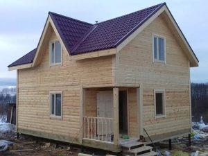Двухэтажная баня из бруса 6х8 в деревне Богословское